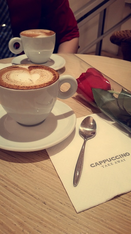 Coffee for san valentin at cappuccino